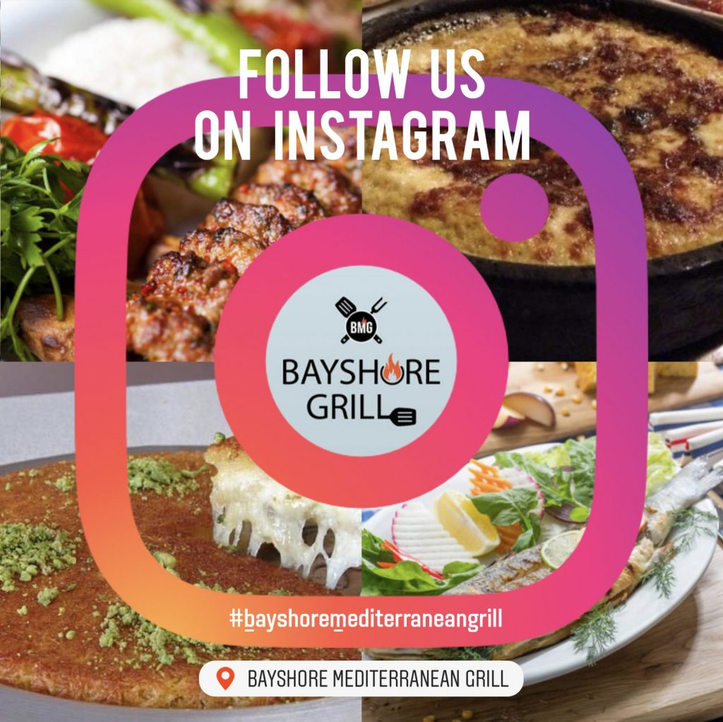 Bayshore Mediterranean Grill Instagram Page and Location